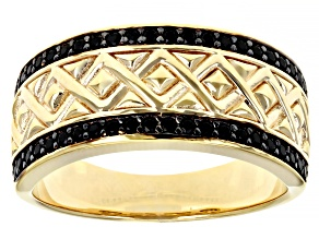 Black Spinel 18K Yellow Gold Over Sterling Silver Mens Ring .32ctw