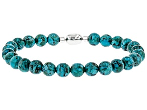 Blue Turquoise Rhodium Over Silver Bead Bracelet