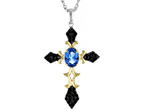 Blue Spinel Rhodium & Gold Over Silver Two-Tone Cross Pendant With Chain 1.83ctw