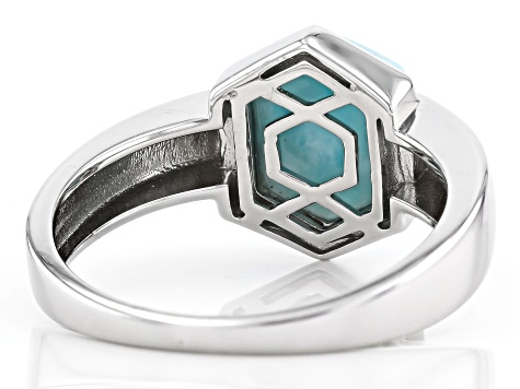 Blue Larimar Rhodium Over Sterling Silver Gents Ring