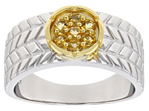 Golden Citrine Rhodium Over Silver Two-Tone Mens Ring .39ctw