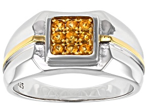 Golden Citrine Rhodium Over Sterling Silver Two-Tone Mens Ring .31ctw