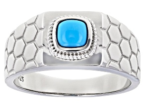 Blue Turquoise Rhodium Over Sterling Silver Gents  Ring