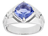 Blue Color Change Fluorite Rhodium Over Silver  Ring 3.41ctw