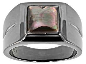 Black Mother Of Pearl Rhodium Over Silver Mens Ring