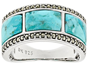 Blue Turquoise Rhodium Over Silver Mens Band Ring
