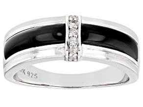 Black Onyx Rhodium Over Sterling Silver Mens Band Ring .17ctw