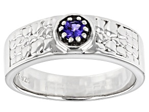 Blue Tanzanite Rhodium Over Sterling Silver Mens Ring .26ct