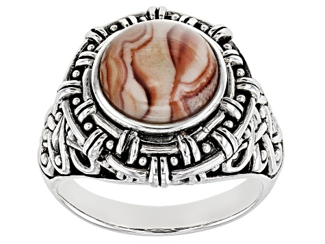 Yellow Dolomite Rhodium Over Sterling Silver Mens Ring