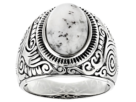 White Dendritic Opal Rhodium Over Sterling Silver Mens Ring