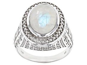 Multicolor Rainbow Moonstone Rhodium Over Sterling Silver Solitaire Men's Ring