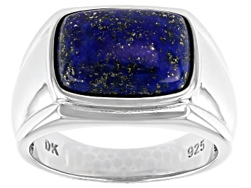 Picture of Blue Lapis Lazuli Rhodium Over Sterling Silver Ring