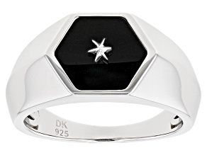 1.70ct Free-Form Black Onyx Rhodium Over Sterling Silver Mens Ring.