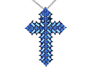 Blue Lab Spinel Rhodium Over Sterling Silver Mens Cross Pendant With Chain 3.25ctw