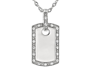 "Lab Created White Sapphire Rhodium Over Sterling Silver Women's ""Dog Tag"" Pendant With Chain .22ctw"