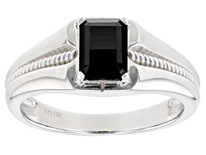 Black Spinel Rhodium Over Sterling Silver Mens Ring 1.70ct