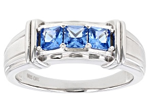 Blue Lab Created Spinel Rhodium Over Sterling Silver Mens Ring 1.28ctw