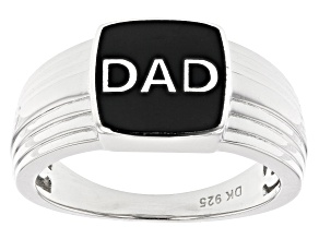 "Rhodium over sterling silver ""DAD"" mens ring"