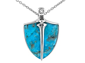 "Blue Turquoise Silver ""Sheild"" Pendant With Chain .13ct"