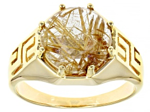 White Rutilated Quartz 18k Gold Over Sterling Silver Mens Solitaire Ring 6.10ct