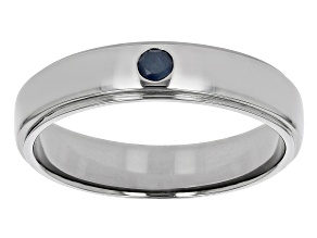 Blue Sapphire Black Rhodium Over Sterling Silver Men's Solitaire Band Ring 0.13ct