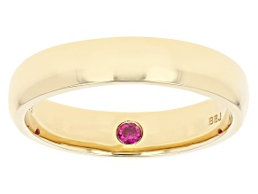 Red Lab Created Ruby 18K Yellow Gold Over Sterling Silver Men's Solitaire Band Ring 0.09ct