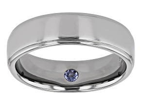 Blue Tanzanite Black Rhodium Over Sterling Silver Men's Ring 0.05ct