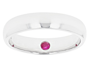 Red Lab Created Ruby Rhodium Over Sterling Silver Men's Solitaire Band Ring 0.09ct