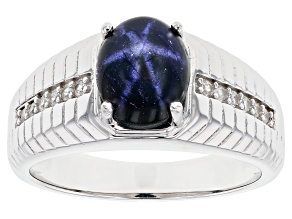 Blue Star Sapphire Rhodium Over Silver Men's Ring 4.11ctw