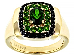 Green Chrome Diopside 18k Yellow Gold Over Sterling Silver Mens Ring 1.36ctw