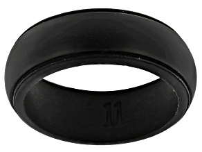 Black Silicone Mens Band Ring