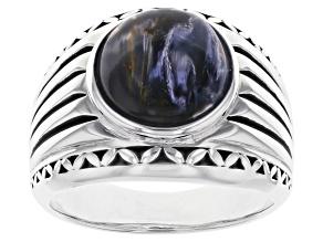 Blue Pietersite Sterling silver Mens Ring