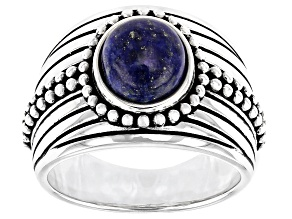 Blue Lapis Lazuli Rhodium Over Sterling Silver Men's Solitaire Ring