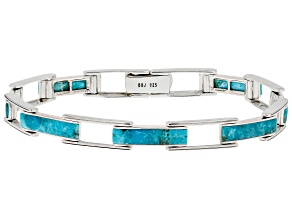 Blue Turquoise Rhodium Over Sterling Silver Men's Bracelet