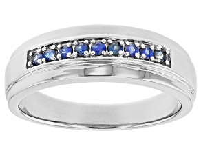 Blue Sapphire Rhodium Over Sterling Silver Mens Wedding Band Ring .23ctw