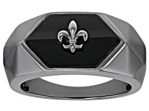 "Black Onyx ""Fluer-De-Lis"" Black Rhodium Over Sterling Silver Ring"