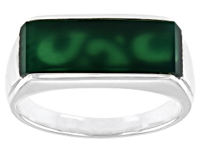 Green Onyx Inlay Rhodium Over Sterling Silver Mens Band Ring