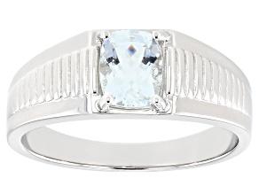 Blue Aquamarine Rhodium Over Sterling Silver Mens Ring 1.02ct