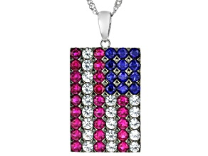 Red Lab Created Ruby Rhodium Over Sterling Silver American Flag Pendant With Chain 2.62ctw