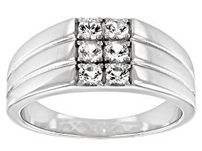 White Lab Created Sapphire Rhodium Over Sterling Silver Men's Ring .66ctw