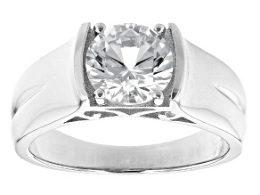 White Lab Created Sapphire Rhodium Over Sterling Silver  Ring. 0.85ct