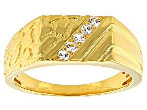 White Lab Created Sapphire 18k Yellow Gold Over Sterling Silver Men's Ring .17ctw