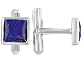 Blue Lapis Lazuli Rhodium Over Sterling Silver Men's Cufflinks