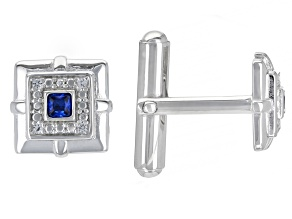 Blue Lab Created Spinel Rhodium Over Sterling Silver Men's Cufflinks .29ctw