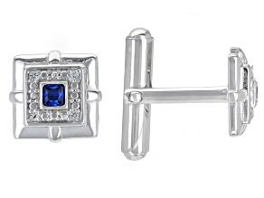 Blue Lab Created Spinel Rhodium Over Sterling Silver Men's Cufflinks .29ctw