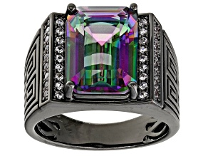 Multi-Color Quartz Black Rhodium Over Brass Men's Ring 6.43ctw