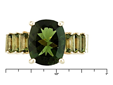 Green Moldavite 10k Yellow Gold Ring 2.36ctw