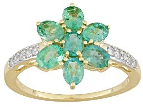 Green Zambian Emerald 10k Yellow Gold Ring 1.27ctw