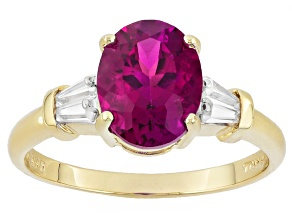 Pink Lab Created Bixbite 10k Yellow Gold Ring 1.78ctw