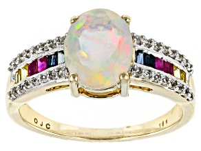 Ethiopian Opal 10k Yellow Gold Ring 1.56ctw